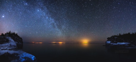 A panorama of the Milky Way over Indian Head Cove in Bruce Peninsula National Park